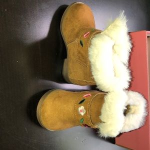 Mini Mia Infant Boots With Fur And Flowers Size 3